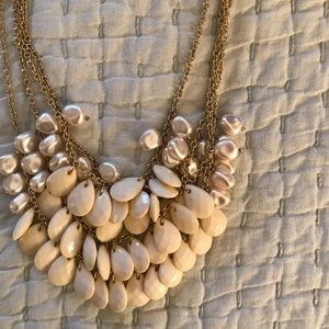 Multiple Layer Off White Teardrop Necklace